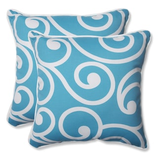 Pillow Perfect Outdoor Best Turquoise 18.5-inch Throw Pillow (Set of 2)