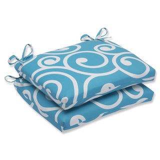 Pillow Perfect Outdoor Best Turquoise Squared Corners Seat Cushion (Set of 2)