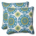 Pillow Perfect Outdoor Suzani Turquoise 18.5-inch Throw Pillow (Set of 2)