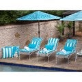 Pillow Perfect Outdoor Cabana Stripe Turquoise Chaise Lounge Cushion