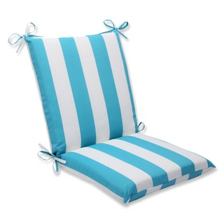 Pillow Perfect Outdoor Cabana Stripe Turquoise Squared Corners Chair Cushion