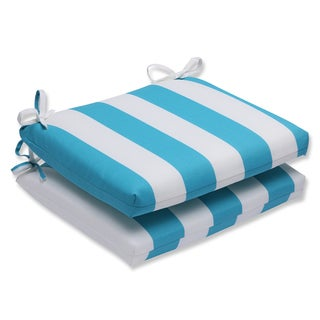 Pillow Perfect Outdoor Cabana Stripe Turquoise Squared Corners Seat Cushion (Set of 2)