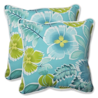 Pillow Perfect Outdoor Calypso Turquoise 18.5-inch Throw Pillow (Set of 2)