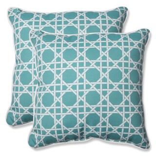 Pillow Perfect Outdoor Kane Aqua 18.5-inch Throw Pillow (Set of 2)