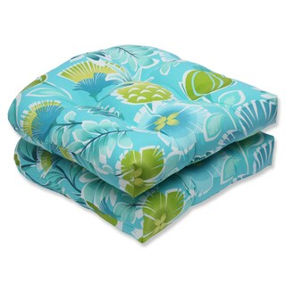 Pillow Perfect Outdoor Calypso Turquoise Wicker Seat Cushion (Set of 2)