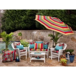 Pillow Perfect Outdoor Cera Garden Wicker Seat Cushion (Set of 2)