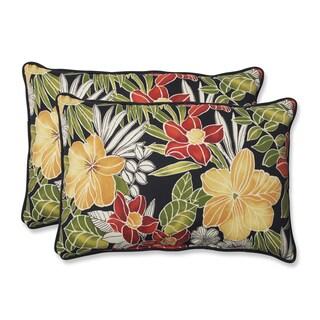 Pillow Perfect Outdoor Clemens Noir Over-sized Rectangular Throw Pillow (Set of 2)