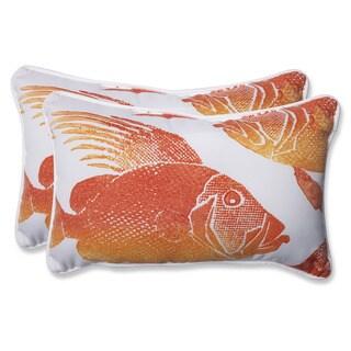 Pillow Perfect Outdoor Fish Orange Rectangular Throw Pillow (Set of 2)