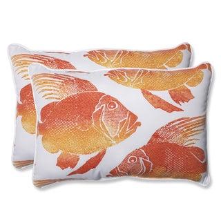 Pillow Perfect Outdoor Fish Orange Over-sized Rectangular Throw Pillow (Set of 2)