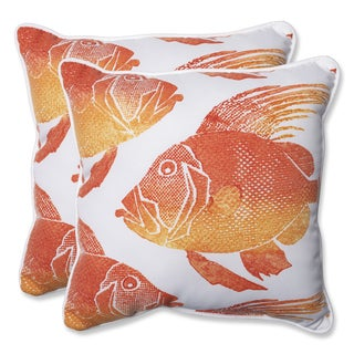 Pillow Perfect Outdoor Fish Orange 18.5-inch Throw Pillow (Set of 2)