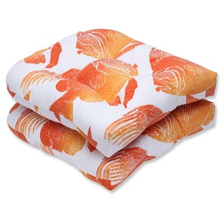 Pillow Perfect Outdoor Fish Orange Wicker Seat Cushion (Set of 2)
