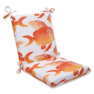 Pillow Perfect Outdoor Fish Orange Squared Corners Chair Cushion