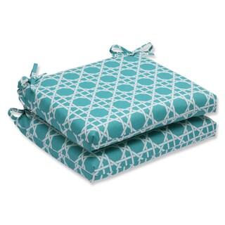 Pillow Perfect Outdoor Kane Aqua Squared Corners Seat Cushion (Set of 2)