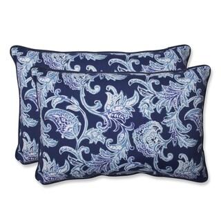 Pillow Perfect Outdoor Lahaye Indigo Over-sized Rectangular Throw Pillow (Set of 2)