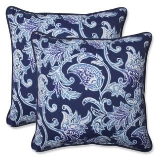 Pillow Perfect Outdoor Lahaye Indigo 18.5-inch Throw Pillow (Set of 2)