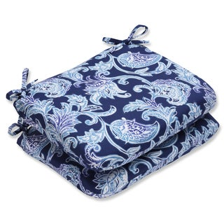 Pillow Perfect Outdoor Lahaye Indigo Rounded Corners Seat Cushion (Set of 2)