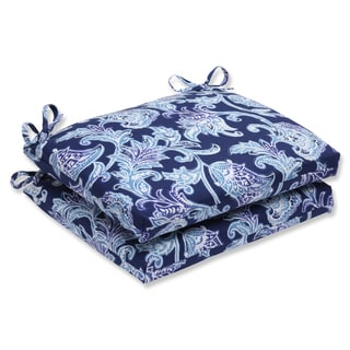 Pillow Perfect Outdoor Lahaye Indigo Squared Corners Seat Cushion (Set of 2)