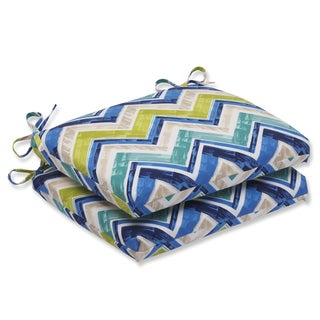 Pillow Perfect Outdoor Marquesa Marine Squared Corners Seat Cushion (Set of 2)