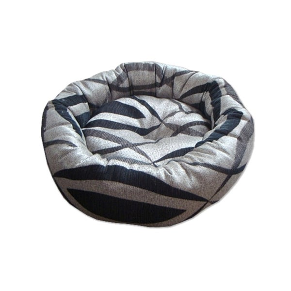 INSTEN Silver/ Black Classic Print Woven Fabric Donut Pet Bed