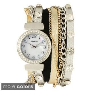 Olivia Pratt Women's 15168 Genuine Leather Stone Stud Chain Wrap Watch