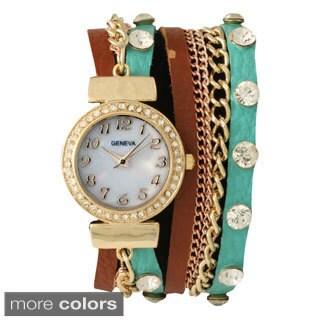 Olivia Pratt Women's 15168 Genuine Leather Stone Stud Chain Watch