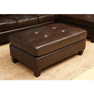 ABBYSON LIVING Charlie Dark Brown Top Grain Leather Cocktail Ottoman