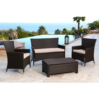 ABBYSON LIVING Newport Outdoor Espresso Brown Wicker 4-piece Conversation Set