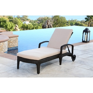 ABBYSON LIVING Newport Outdoor Espresso Brown Wicker Chaise Lounge with Cushion