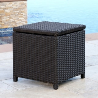 ABBYSON LIVING Newport Outdoor Espresso Brown Wicker Storage Ottoman
