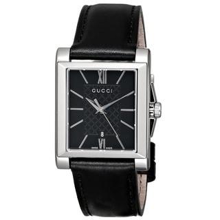Gucci Women's YA138503 'G-Timeless' Rectangle Swiss Quartz Black Leather Watch
