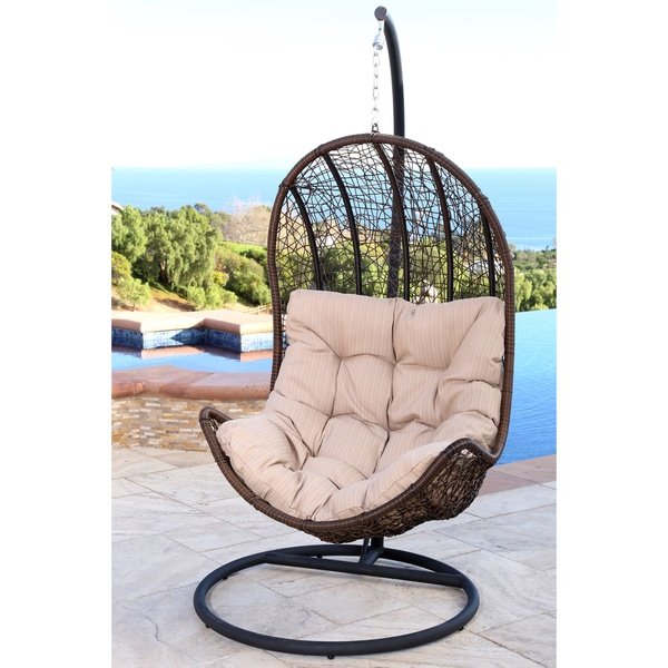 abbyson living newport outdoor brown wicker egg shaped