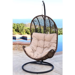 ABBYSON LIVING Newport Outdoor Brown Wicker Egg-shaped Swing Chair