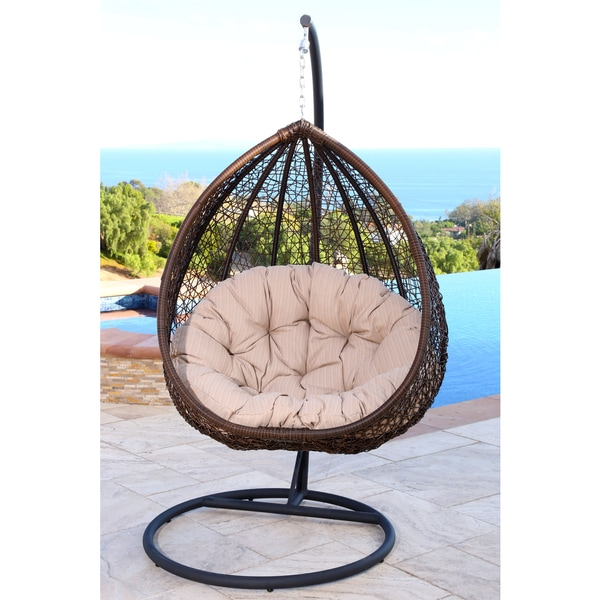 abbyson living newport outdoor brown beige wicker swing chair