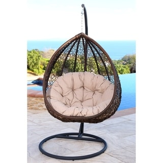 ABBYSON LIVING Newport Outdoor Brown/ Beige Wicker Swing Chair