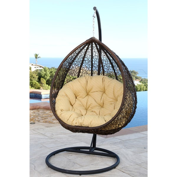 abbyson living newport outdoor brown yellow wicker swing chair