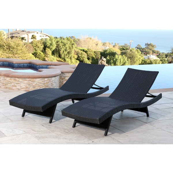 Abbyson living palermo outdoor black adjustable wicker for Black outdoor wicker chaise