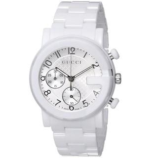 Gucci Men's YA101353 'Gucci G Chrono' Swiss Quartz White Ceramic Watch