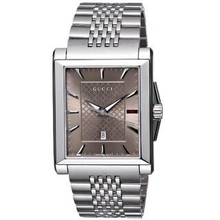 Gucci Men's YA138402 'G-Timeless' Rectangle Swiss Quartz Stainless Steel Watch