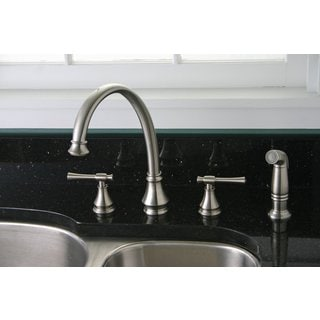 Premier Torino Lead-free Double-handle Brushed Nickel Kitchen Faucet with Matching Sprayer