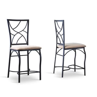 Valletta Wood and Metal Transitional Stools Set of 2