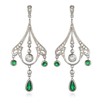 Sterling Silver 1 3/5ct TGW Cubic Zirconia and Emerald Antique-style Chandelier Earrings