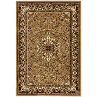 "Vintage Collection Gold Traditional Medallion Design Area Rug (5'3""X7'3"")"