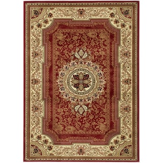 Machine Made Serenity Collection Red Polypropylene Traditional European Design Area Rug (7'10 x 9'10)