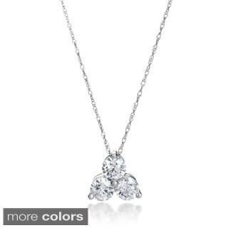 SummerRose 14k Gold 1ct TDW 3-stone Diamond Pendant Necklace (H-I, SI2-I1)