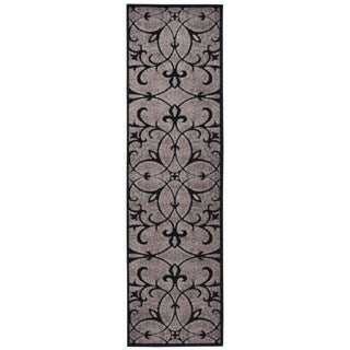 Hand-carved Graphic Illusions Black Filigree Rug (2'3 x 8')