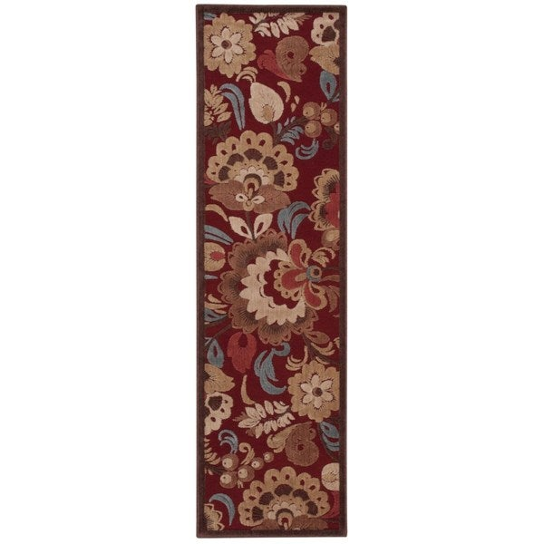 Hand-carved Graphic Illusions Red Floral Runner Rug (2'3 x 8')