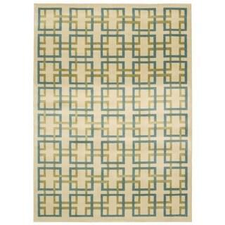 Nourison Nova Ivory/ Blue Geometric Rug (7'10 x 10'6)