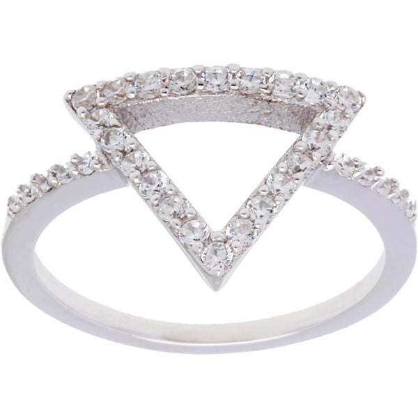 La Preciosa Sterling Silver CZ Triangle Ring