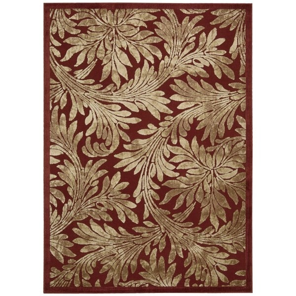 Nourison Graphic Illusions Red Floral Rug (3'6 x 5'6)