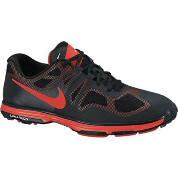 Nike Men's Lunar Ascend II Black/ Crimson Golf Shoes